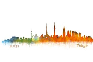Tokyo Cityscape watercolor skyline