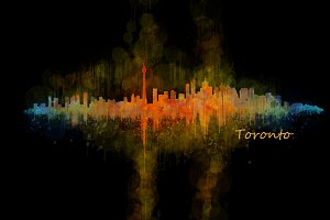 Toronto Cityscape Watercolor Skyline