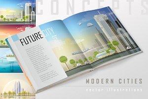 Modern cities vector illustrations