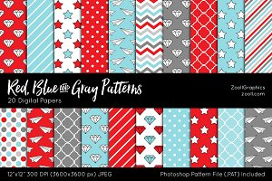 Red, Blue And Gray Digital Papers