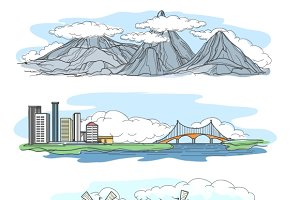 Landscapes in hand drawing style.