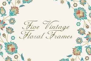 Five Vintage Floral Frames Pack