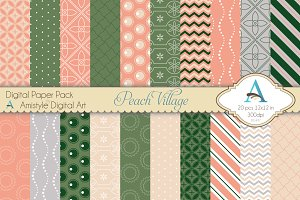 Peach Village Digital Paper Set