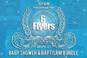 6 Baby Shower Baptisam Flyer Bundle