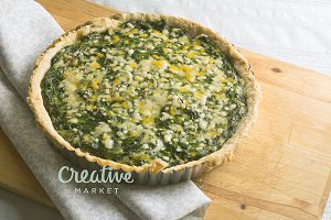 spinach quiche and vegetables