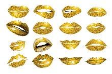 Lips gold set. Design glitter vector