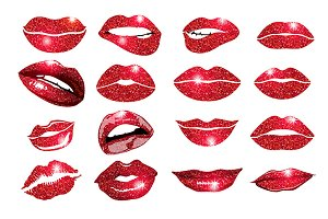 vector, lips red set. Design glitter