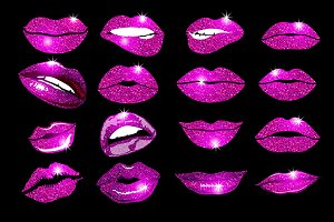 vector, lips pink set Design glitter
