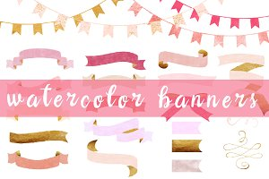 watercolor banners - gold and pink