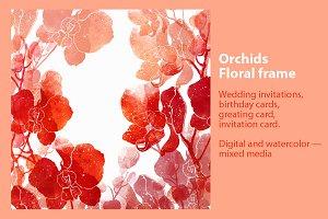 Orchids. Floral frame