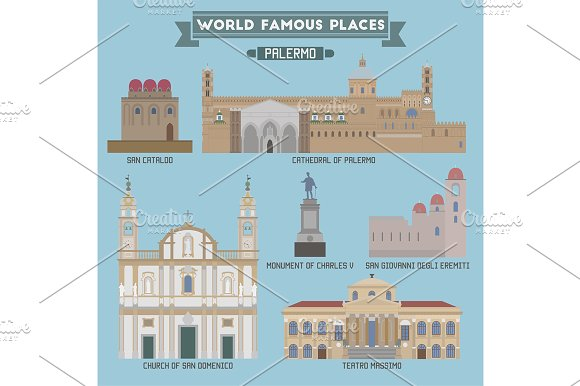 World Famous Place. Italy. Palermo - Icons