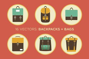 Backpacks and Bags - 16 Vectors
