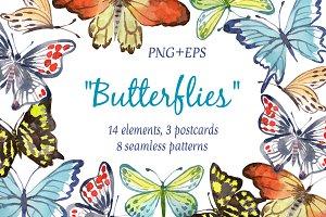 "Watercolor  set  ""Butterflies"""