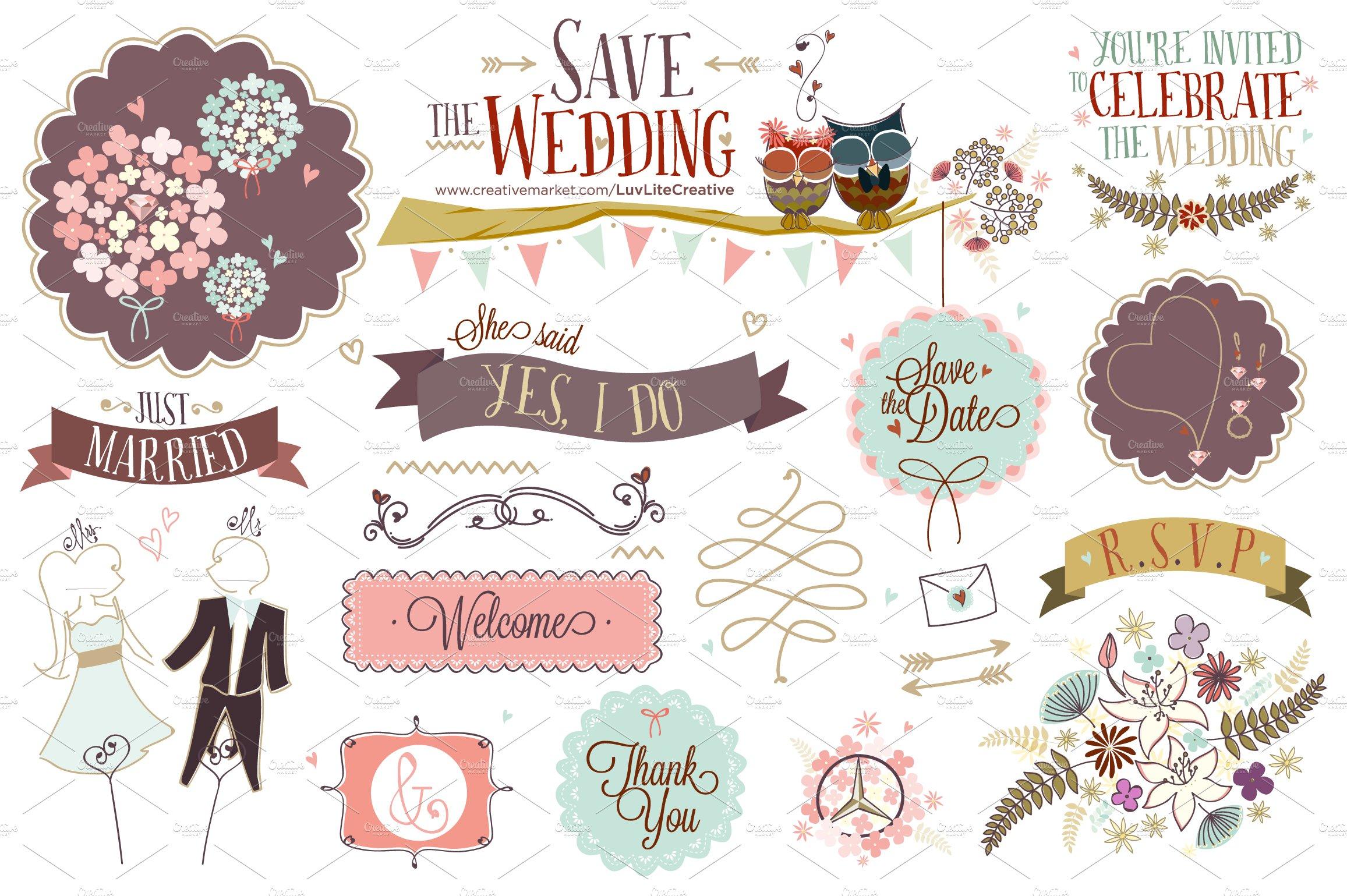 save the wedding hand drawn vector illustrations creative market