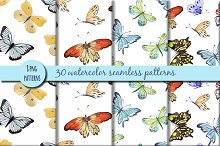 Watercolor patterns with butterflies