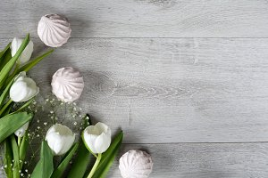 Spring background with white tulips