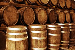wine barrels stacketd