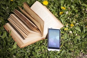 Android Smartphone with Book,Mock-Up