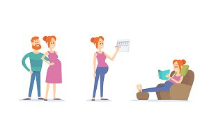 Set of pregnancy illustrations