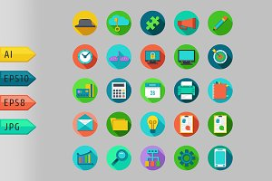 Icons set with concepts of business.