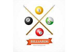 Billiard Balls Concept with Cue
