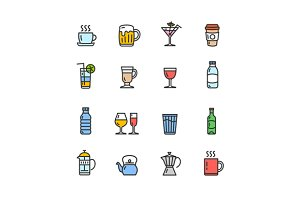 Drink Alcohol  and Coffee Tea Icons.