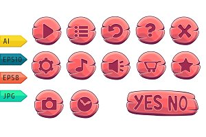Set of vector wooden buttons.