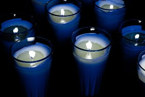 several blue candle