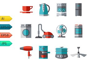 Domestic equipment Icons.