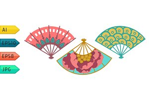 Set of festival fans with pattern