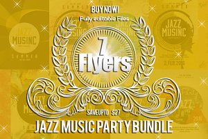 7 Jazz Music Party Flyer Bundle
