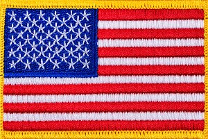 USA Flag patch with yellow trim