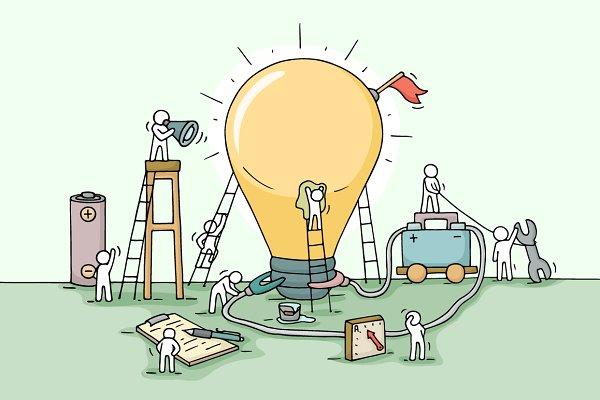Cartoon teamwork with lamp idea