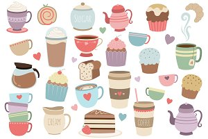 Coffee and Tea 33 pc Vector Clipart