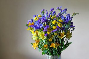 Bouquet of purple & yellow flowers