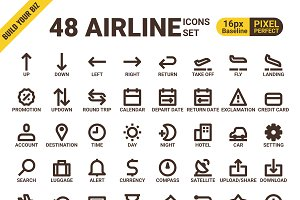 48 Airline pixel perfect icons