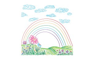 rainbow, landscape, flowers, sketch