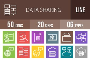 50 Data Sharing Line Multicolor Icon