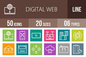 50 Digital Web Line Multicolor Icons