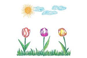 landscape, tulips, sun, vector