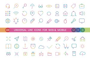 100 universal color icons