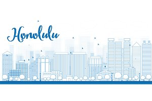 Outline Honolulu City Skyline