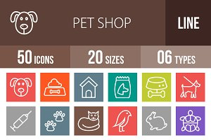 50 Pet Shop Line Multicolor Icons