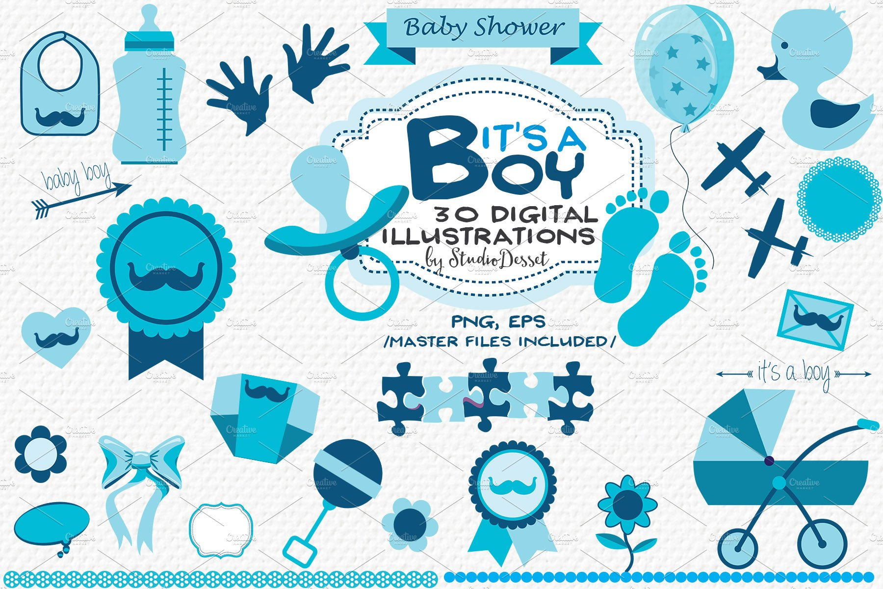 Its A Boy Baby Shower Cliparts Graphics Creative Market