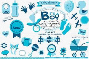 It's a Boy - Baby Shower Cliparts