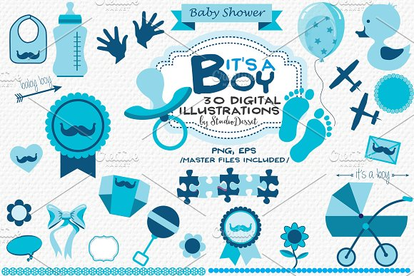 It S A Boy Baby Shower Cliparts Graphics Creative Market