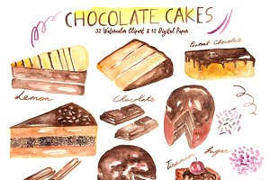 Chocolate Cakes Watercolor