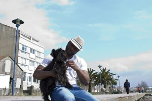 black man with dog