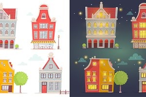 Set of day and night buildings