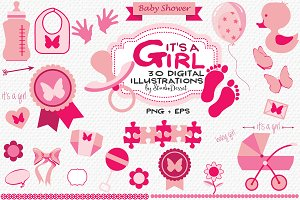It's a Girl - Baby Shower Cliparts